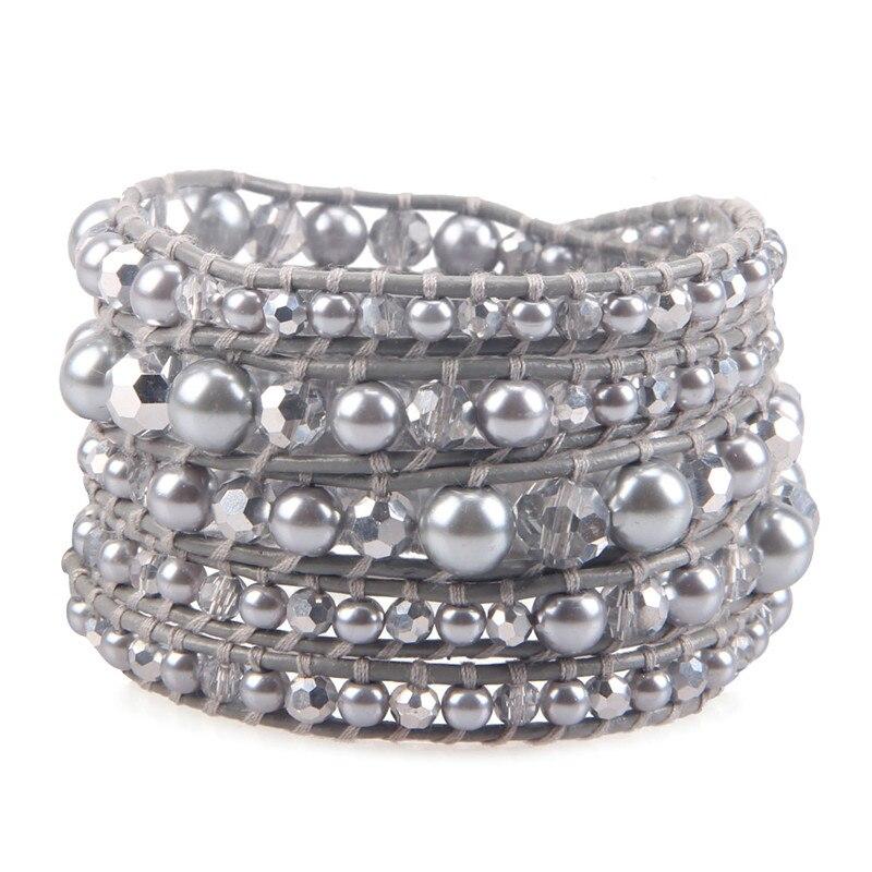 Temperamento Noble Crystal Pearl Beads Couro Genuíno Handmade Multilayers Envoltório Pulseiras Mulher Menina de Prata Banhado Charme Pulseira