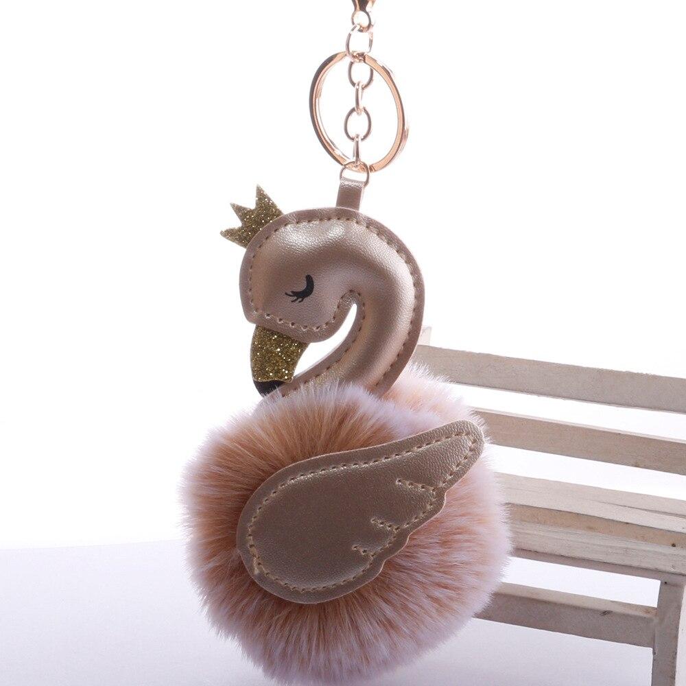 Swan Shape Hair Ball Key Ring Pendant New Wing Crown Flamingo Bag Accessory Plush Pendant