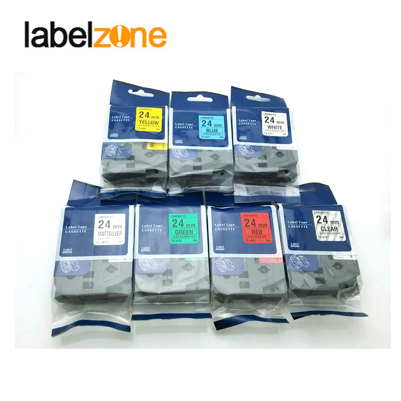 1'x23' red on clear tape 24mm TZ152 TZ 152 TZe152 Compatible brother P touch TZ Tze label tape ribbon cassette|label tape|brother p-touch|ribbon cassette - title=