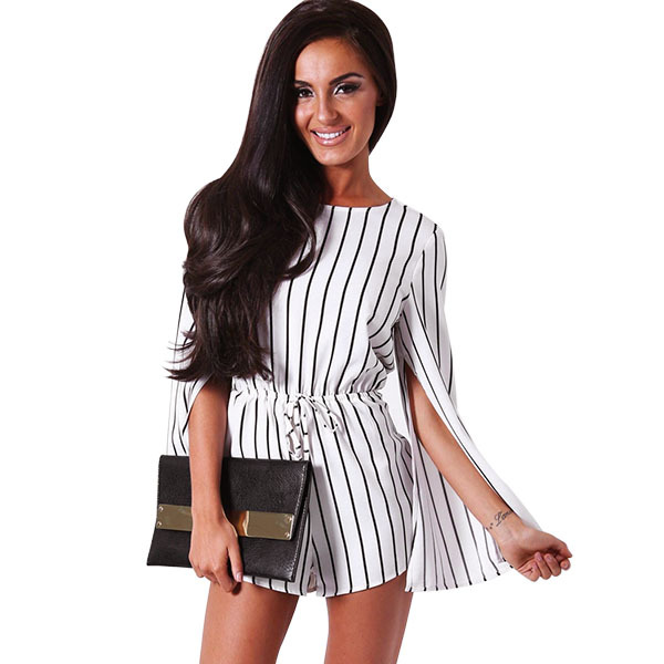 Fashion casual Black White Stripe rompers womens short jumpsuit sexy Long Sleeve Chiffon Cape Romper one piece bodysuits 63