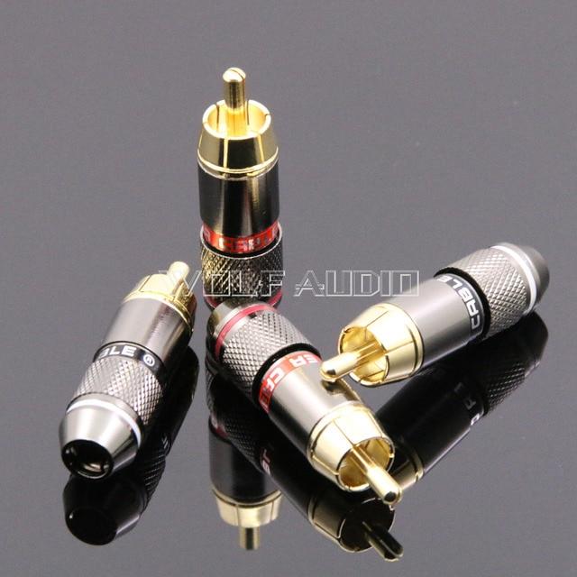 4 יחידות מפלצת CRBLE 24 K מצופה זהב RCA Plug/אודיו מחבר/תקע לוטוס/AV מסוף וידאו