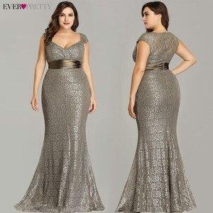 Image 3 - Vestidos דה פיאסטה 2020 פעם די חדש אלגנטי בת ים V צוואר שרוולים תחרה שמלות נשף בתוספת גודל המפלגה שמלת חלוק דה soiree