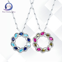 Merthus 925 Sterling Silver Nacklace Lab Created Gemstone 2.77CT Peridot Red Swiss Blue Fashion Women Wedding Gift