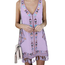 Plus Size Womens Short Tassel Dress Sleeveless V Neck Casual Kaftan Tunic Gypsy Ethnic Boho Mini Dress Summer Beach Sundress sleeveless v neck mini dress with tassel details