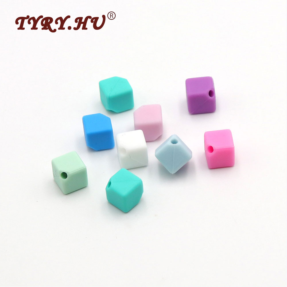 TYRY.HU Original 9mm Cube Silicone Bead 25pcs Colorful Baby Teething Beads Square Baby Silicone Teether Nursing Pendant Beads