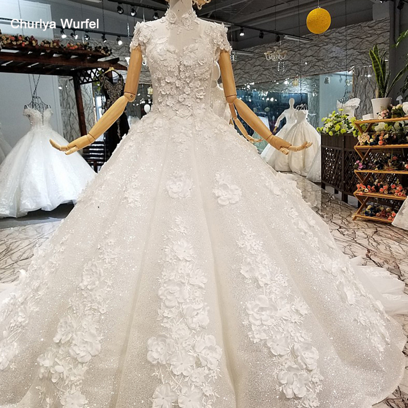 LS850321 shiny ball gown wedding dress petal flowers high neck short sleeves elegant wedding gown fast