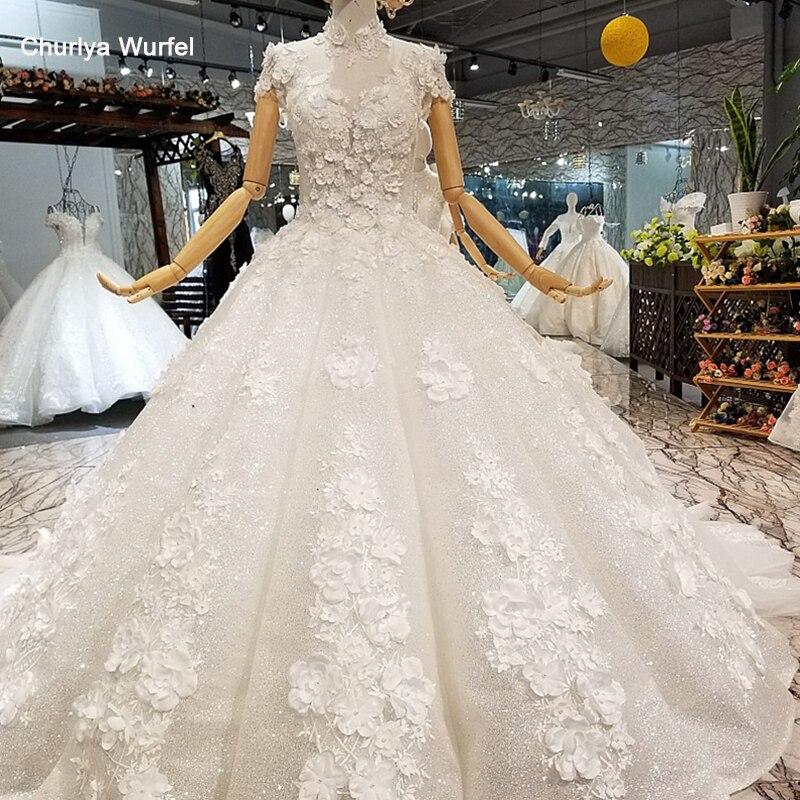 LS850321 brilhante vestido de baile vestido de casamento pétala flores alta neck mangas curtas vestido de casamento elegante do frete grátis entrega rápida