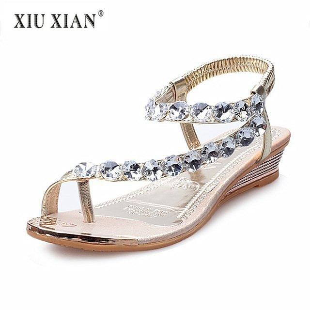 c32cbd6b723 Luxury Crystal Fashion Wedges Women Sandals Simple Fashion Summer Travel  Beach Sandals 2018 New Hot Big