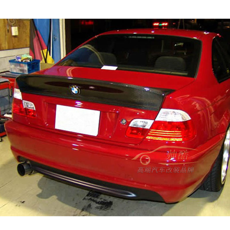 CSL Style Black Rear Carbon Fiber Trunk Duckbill Spoiler Wing for BMW E46 2DR/4DR Sedan 2001-2005