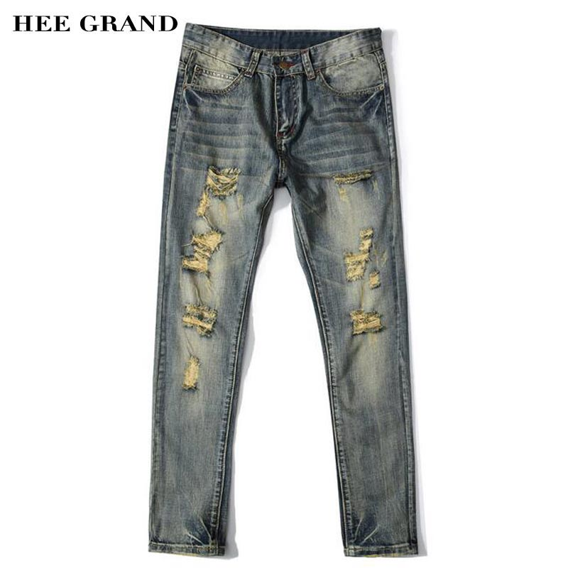 HEE GRAND Men Jeans 2017 New Arrival Stylish Hole Decoration Straight Design High Elasticity Demin Trousers Size 28-40 MKN1000 hee grand 2017 spring summer men jeans full length business style slim fitted straight denim trousers plus size 29 40 mkn960