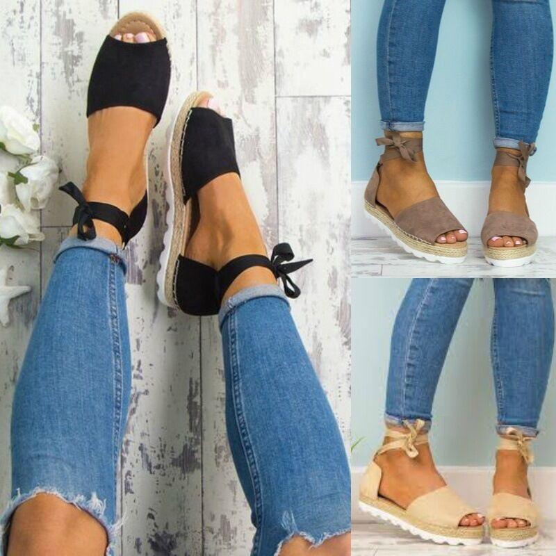 Frauen Sandalen Frauen Ankle Strap Espadrilles Dicke Sohle Hanf Seil Sandalen 2019 Sommer Leinwand Plattform Keile Mode Lace Up Frauen Sandalen Gute QualitäT