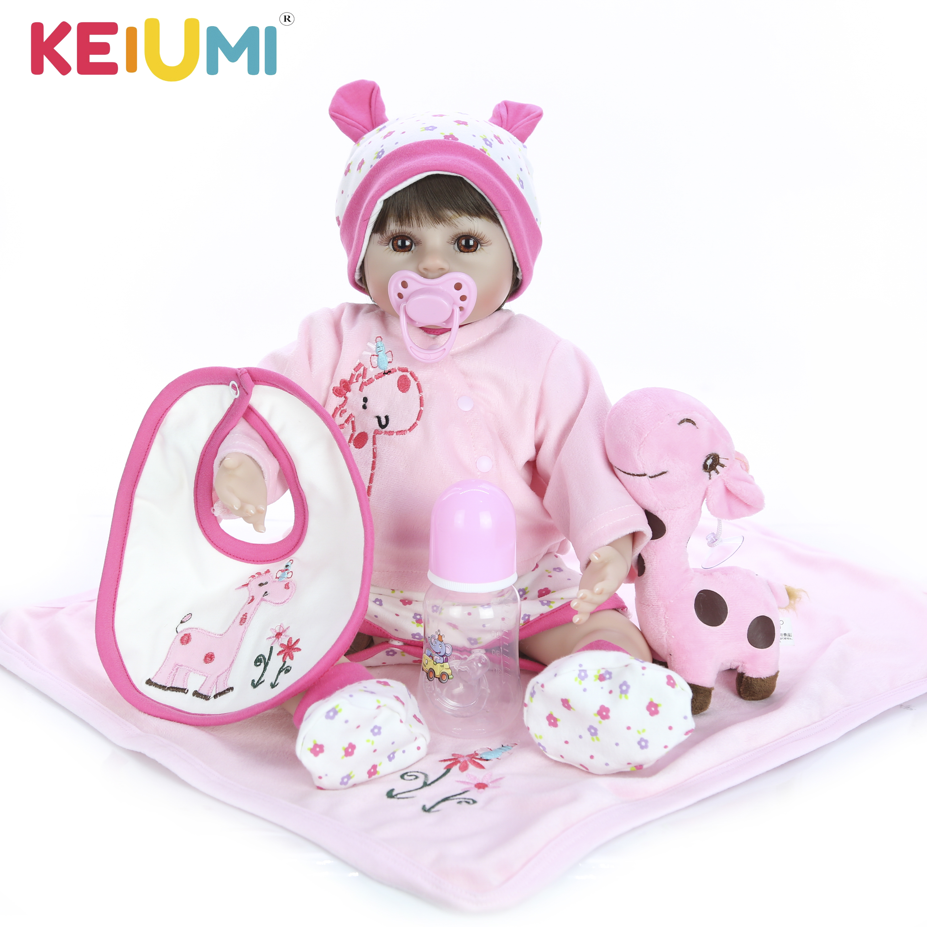 Realistic 18 Reborn Babies Girl Soft Silicone Body KEIUMI Baby Reborn Doll 48cm kids Birthday Gift