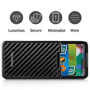 Image 5 - NewBring Slide Wallet RFID Blocking Carbon Fiber Credit ID Card Holder For Men Women Male Female Card Money Minimalist Purse