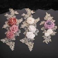 Pizzo fiore 3D strass crytal bordato patches apliques de roupa applique cuce sulle patch per i vestiti bordados para costura