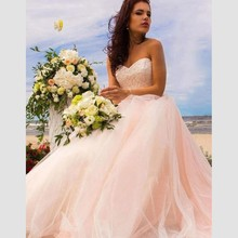 Cheap Pink Wedding Dress With Lace Appliques Ball Gown Bridal Top Tulle vestido madrinha