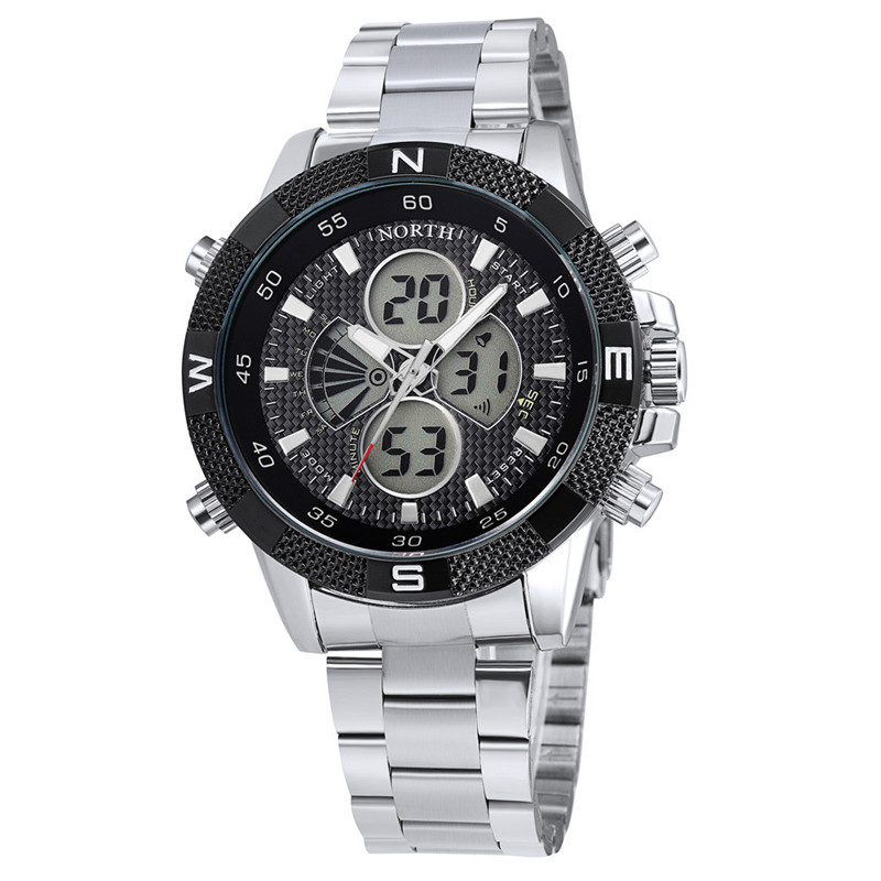 Original Brand Watches Men Sport Quartz Analog Digital Display Full Stainless Steel Famous Logo Watch With Gift A1