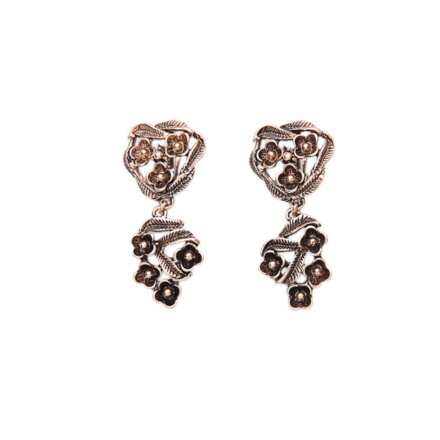Costume Jewelry Egyptian Style Non Pierced Flower Earring 2017 Retro Women Clip Antique Gold