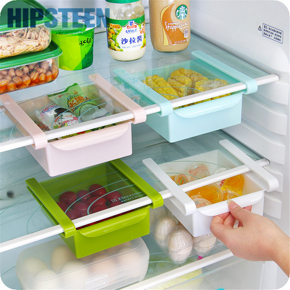 HIPSTEEN Creative Refrigerator Storage Box Fresh Spacer Layer Rack Cajón extraíble Fresh Spacer Ordenar suministros de cocina