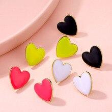 Уличные Стильные черные, белые, розовые, желтые серьги-гвоздики с сердечками для женщин, милые серьги с сердечками, корейские ювелирные изделия