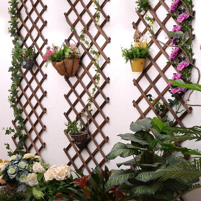 Expanding Wooden Garden Wall Fence Panel Plant Climb Trellis Support  Decorative Garden Fence For Home Yard