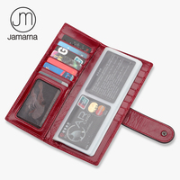 Jamarna Unisex Genuine Leather Oil Wax Business Card Case Credit Card ID Holder Lady Wallet