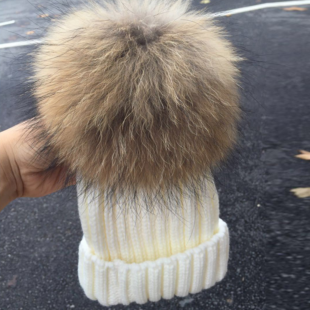 Solid Baby Toddler Knitted Wool Hat Cap Crochet Beanies Fur Ball Hats Caps Family Cap
