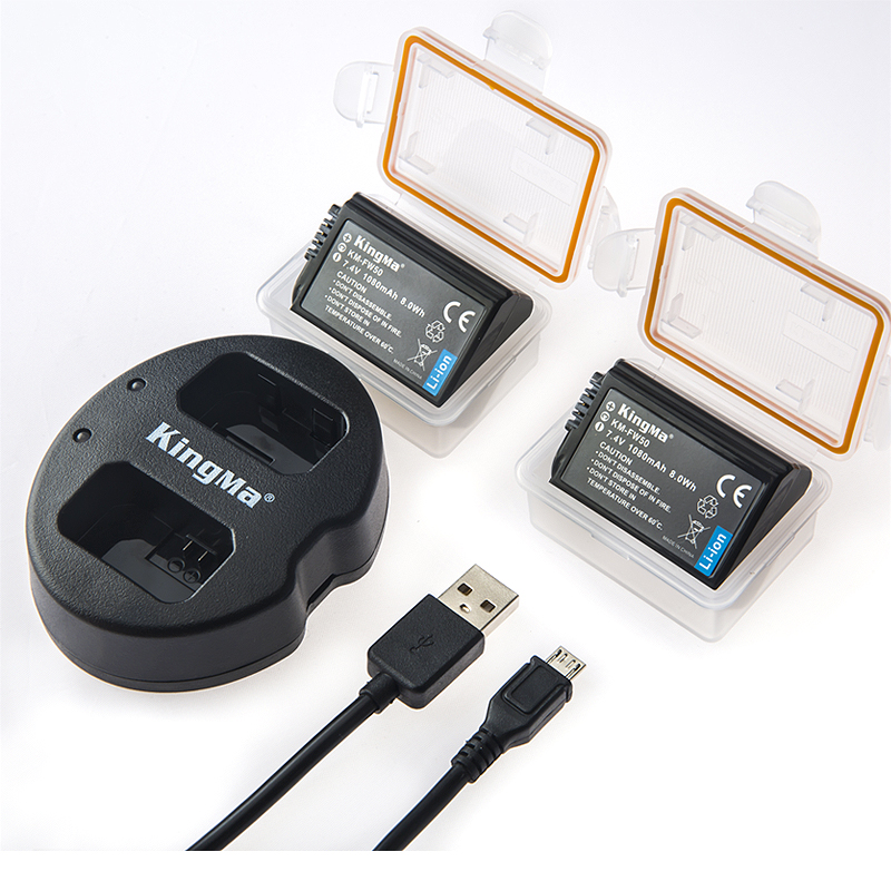 NP-FW50 KingMa Replacment Battery and Dual USB Charger for Sony NP-FW50 Alpha a3000,Alpha a6000,A6300,Cyber-shot DSC-RX10