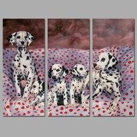 Filhote de cachorro do animal de estimação Cão preto e branco mancha vermelha decoração da parede retrato da arte Pintura Da Lona cartaz para as crianças crianças sala de estar unframed