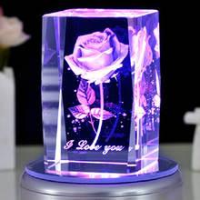 Роза 3d лазерная гравировка хрустальный блок стеклянный светодиодный
