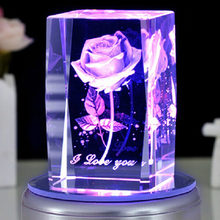 Rose 3D Laser Engraved Crystal Block Glass Led Engraving Cube With Rotary Music Base for Christmas Present