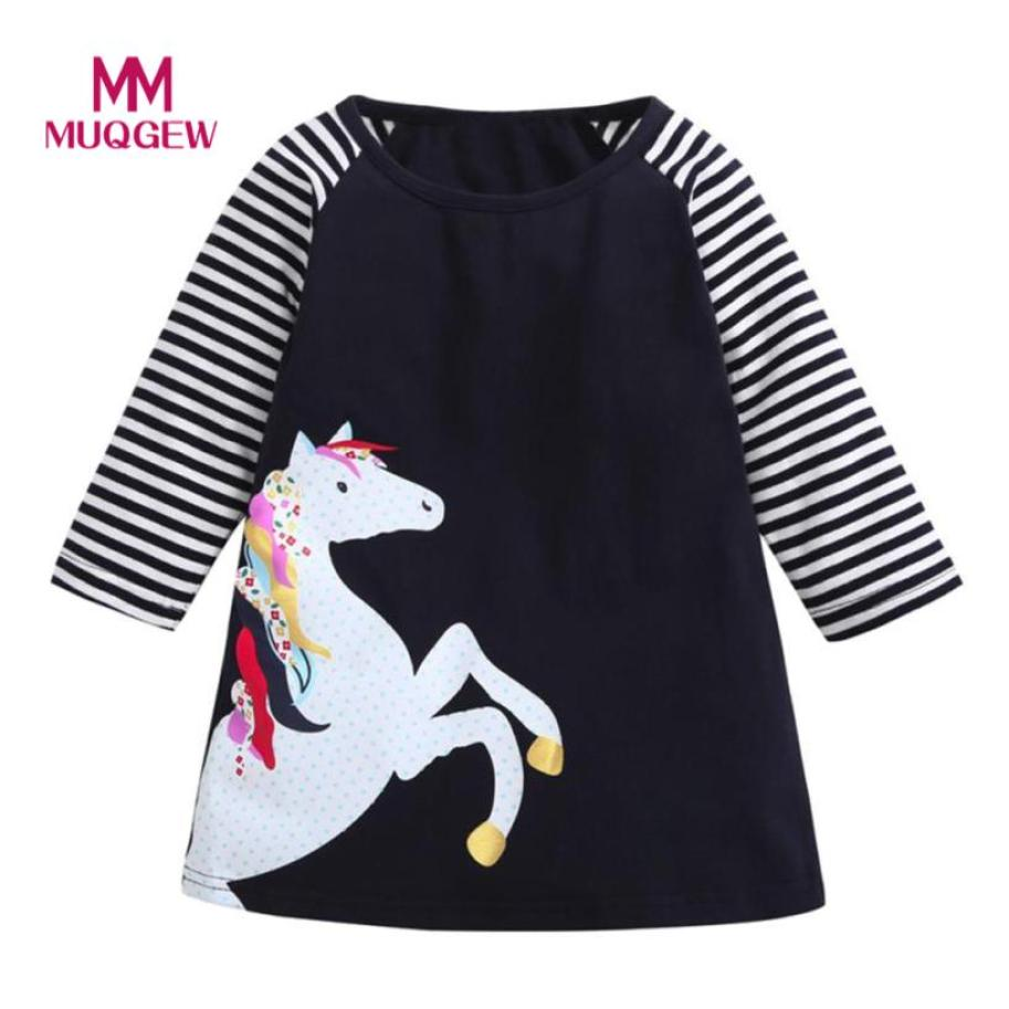 Toddler Baby dress hot sale Girl Kid Spring Clothes Horse Stripe Full Sleeve Print Princess Party O-Neck Knee-Length Dress