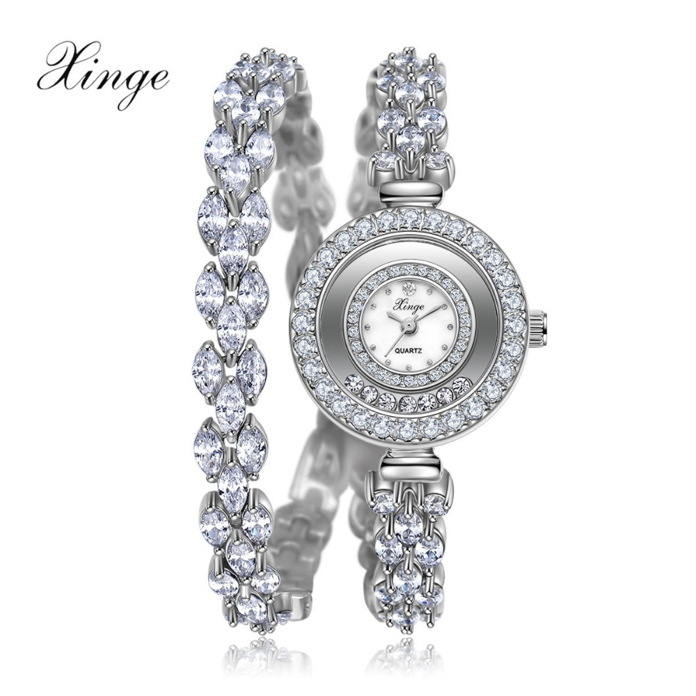 Women Zircon Watches Xinge Famous Brand Women Bracelet Watch Fashion Women Crystal Dress Quartz Watches Christmas Gift S0232 xinge fashion brand popular watch women believe in yourself bracelet crystal wristwatch set girls gift clock women 2018 watches
