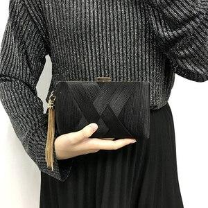 Image 5 - 新しいメタルタッセル女性クラッチバッグチェーンイブニングバッグショルダーバッグ古典的なスタイル小さな財布日のイブニングクラッチバッグ