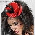 Vintage Fascinator pena grampo de cabelo tecido líquido preto / vermelho / rosa chapéu de festa de casamento de 18035