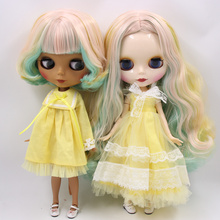Factory Neo Blythe Doll Mint Yellow Pink Hair Jointed Body 30cm