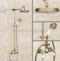Bathroom Rainfall Shower Faucet Set Mixer Tap With Hand Sprayer Wall Mounted Bath Shower Sets Double Handle Kan509