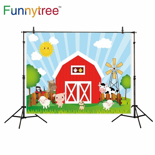 Funnytree Backdrop For Photographic Studio Red Barn Farm Animals Warehouse Cartoon Kids Professional Background Photocall