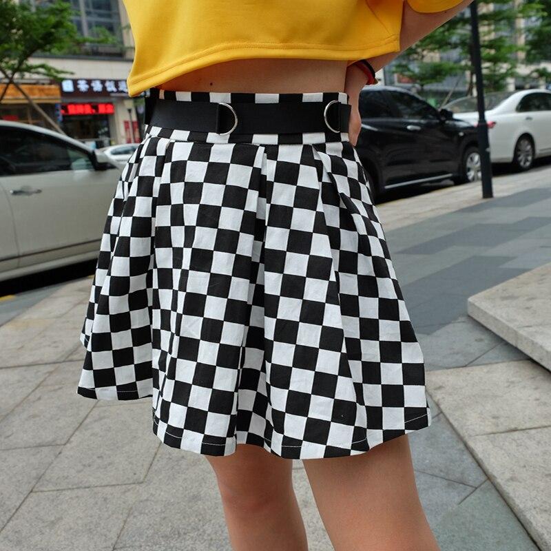 7Sweetown Korean Fashion Checkerboard Pleated Skirts Womens Sashes High Waist Zipper Cotton Short Skirt Woman Summer 2018 Skirts