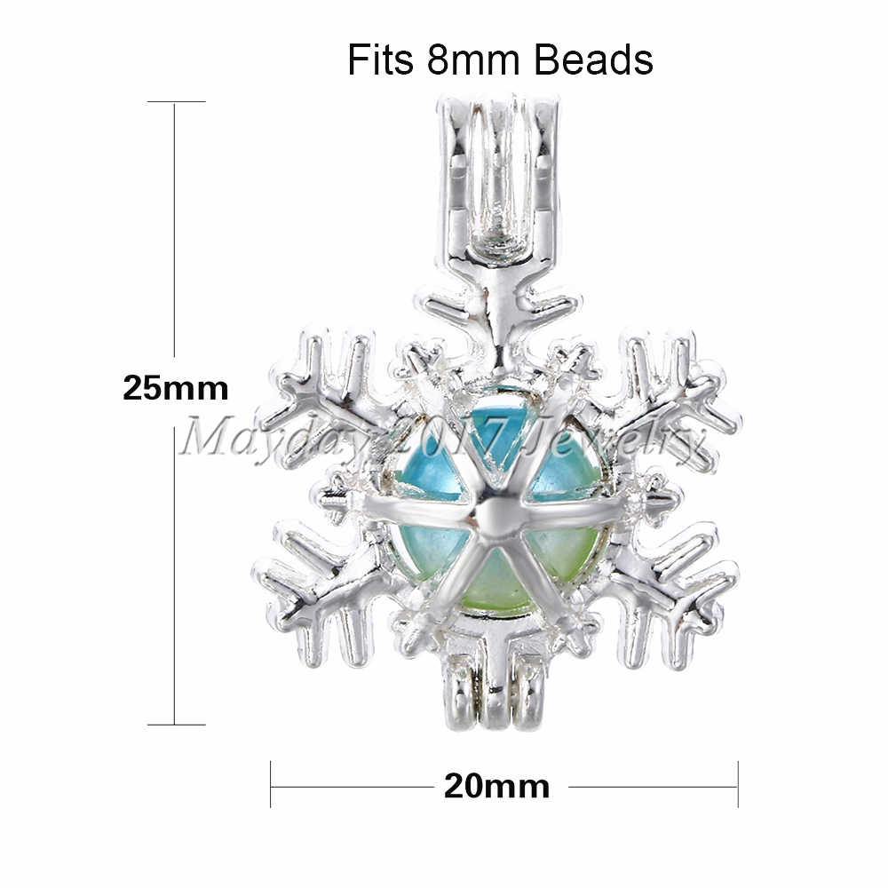 คริสต์มาส!! 10 pcs Silver Snowflake กรงไข่มุกเครื่องประดับทำอุปกรณ์ลูกปัดจี้น้ำมันหอมระเหย Diffuser สำหรับ Oyster Pearl