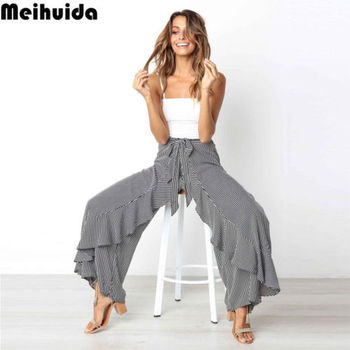 93804da447 Pantalones Palazzo cintura alta pierna ancha pantalones largos fajas sueltas  Casual talla grande