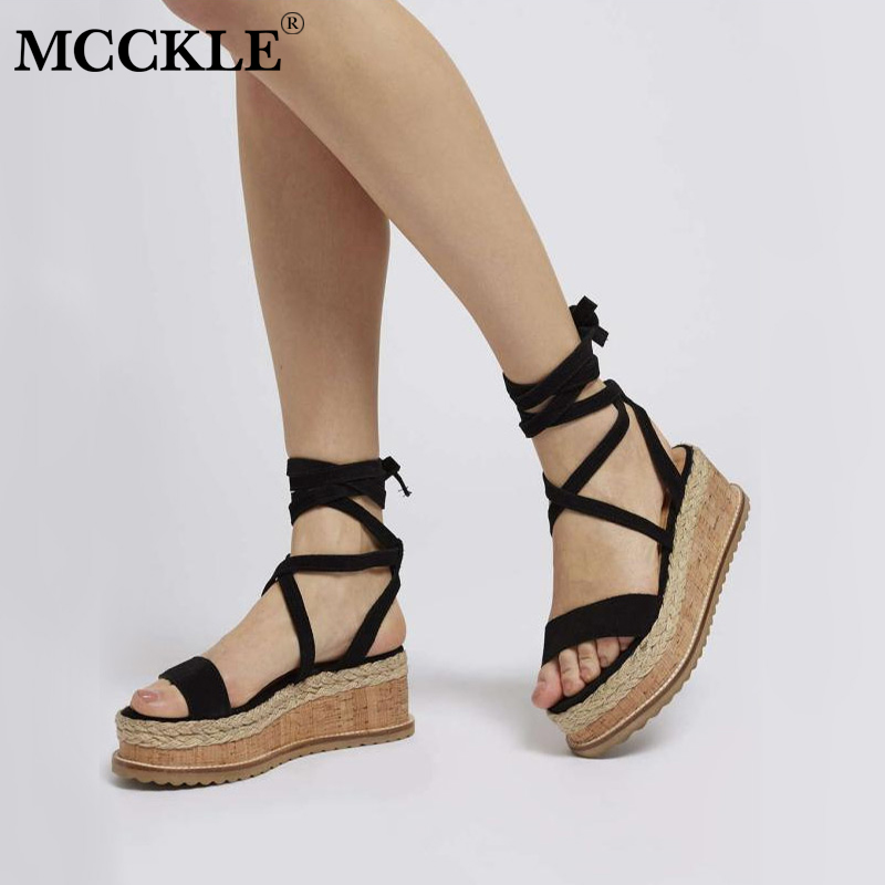 MCCKLE 2018 Summer Ankle Strap Straw Women Wedge Sandals Female Gladiator Fashion Cross Tied Platform HIgh Heels Shoes Woman phyanic 2017 summer gladiator sandals straw platform creepers silver shoes woman buckle casual women flats shoes phy4046