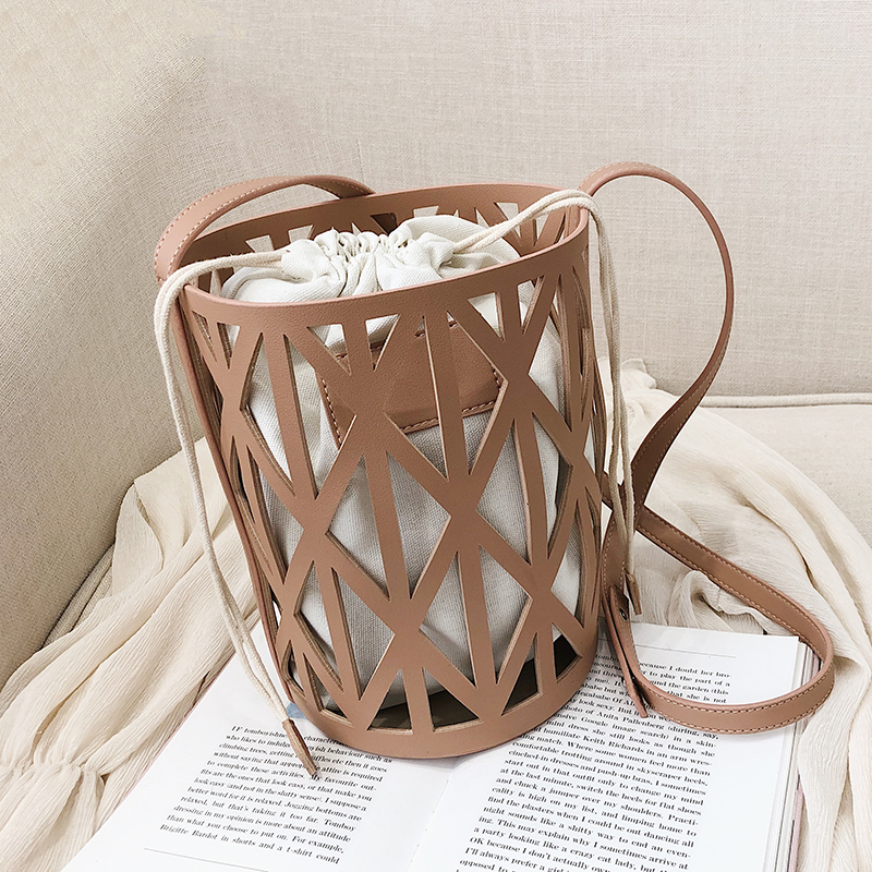 2PCS/SET Drawstring PU Leather Bucket Bag For Women Designer Small Hollow Crossbody Bags Ladies Shoulder Bags Handbags