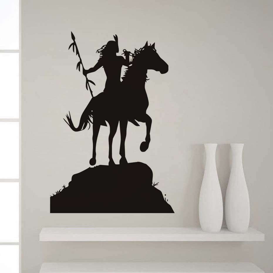 Horse Rider Wall Stickers Native American Indian Wall Decal Removable Vinyl Art Sticker Waterproof Mural Decals Home Decor