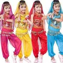 Топ+ штаны, детские танцевальные костюмы для живота, платье для танца живота, одежда для бальных танцев
