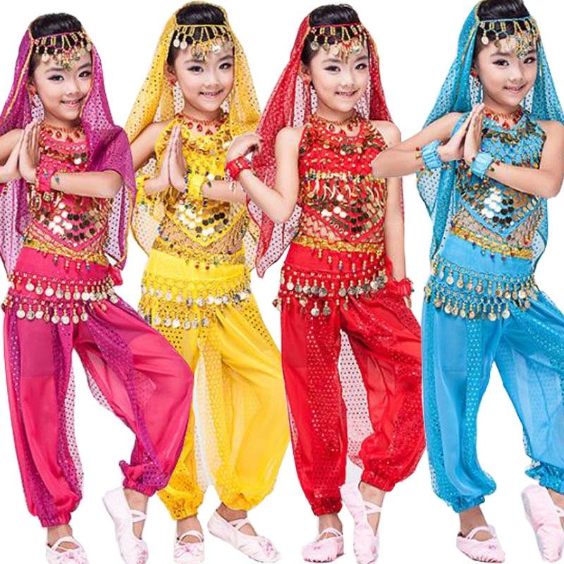 Free Shipping Top+Pants Children Belly Dance Costumes Kids Belly Dancing Dress Girls Ballroom Performance Dancewear