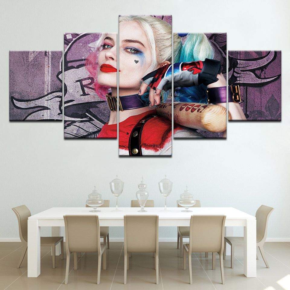 Clown female movie star 5 piece Wall Artwork Wallpapers modern Modular Poster art Canvas painting for Living Room Home Decor