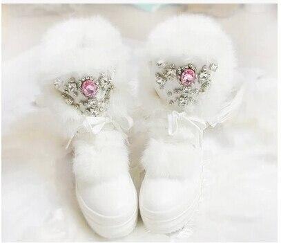 Real Rabbit Fur Winter Boots Rhinestones Diamond Fashion Snow Boots Thick Warm High Top font b