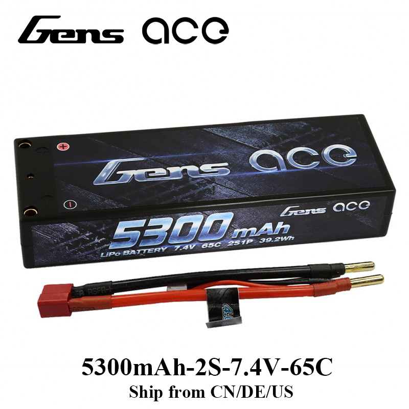 Gens ace Lipo Battery 2S 5300mAh Lipo 7.4V Battery Pack 65C-130C ROAR Approved Battery for 1/8 1/10 RC Car 4.0mm Bullet to Deans gens ace lipo battery 3s 5200mah lipo 11 1v battery pack 3 5mm banana connector 10c battery fpv hobbies rc models accessories