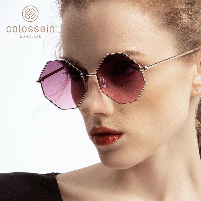 Modna sončna očala Ženska Blagovna znamka Kovinski okvir Poligon Jasna leča Sončna očala Moška vintage sončna očala De Sol Feminino UV400