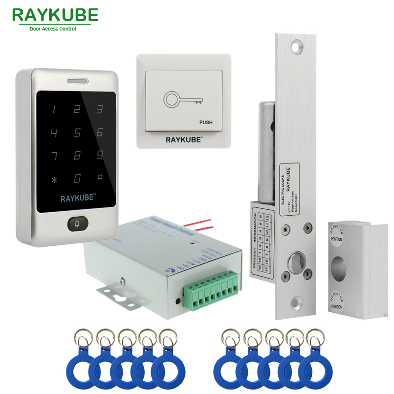 RAYKUBE Door Access Control Kit Set Electric Bolt Lock + Touch Metal FRID Reader For Office Glass Door without frame glass door bolt electric lock for door access control system